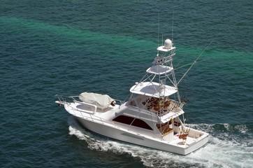 Sport Fishing Boat Cruising in the Bahamas