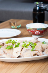 steamed chicken with ginger sauce and thick soy sauce