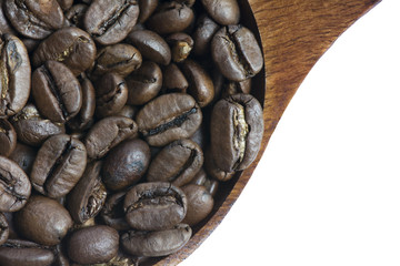 Close up Roasted Coffee Bean on White Background