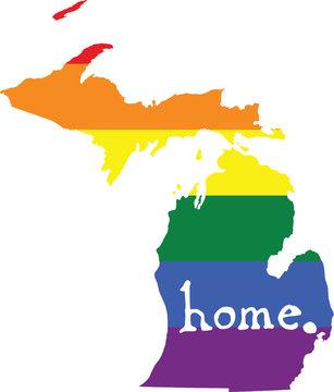 Michigan gay pride vector state sign