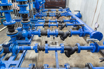 Water pump and steel pipe, blue color.