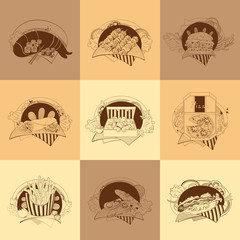 Set of nine fast-food illustrations.