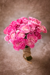 the Fresh pink carnation flower on stone plate background