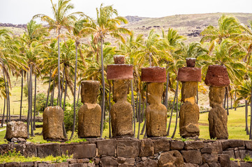 Moai of the  Easter island, Chile. UNESCO World Heritge