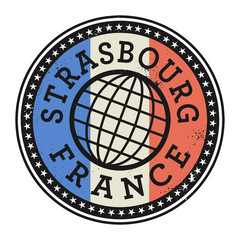 Grunge rubber stamp with the text Strasbourg, France