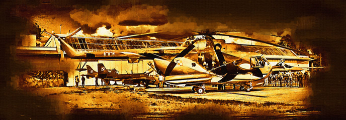 Military helicopter painting