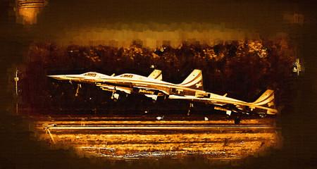 Military airplane speed painting