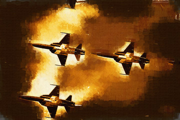 Military airplane speed painting