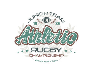 Rugby emblem with shabby texture