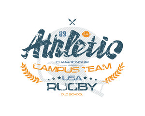 Rugby typographic emblem with shabby texture