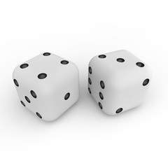 Game cubes on a white background