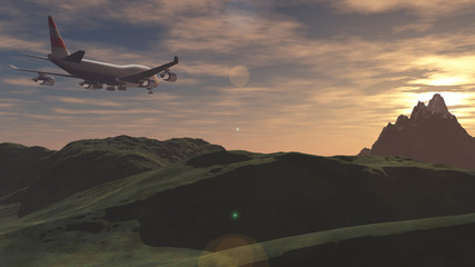 The aircraft flies over the mountains at sunset