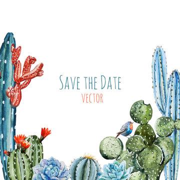 Watercolor cactus frame