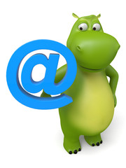 3d cartoon animal with a e-mail symbol. 3d image. Isolated white background