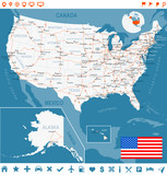 USA Detailed Topographic Map Illustration Map Contains - Usa map with states and cities name