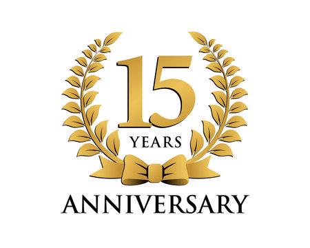 anniversary logo ribbon wreath 15