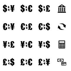 Vector black bank icon set