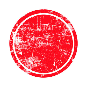 red circle grunge stamp with blank isolated on white background.