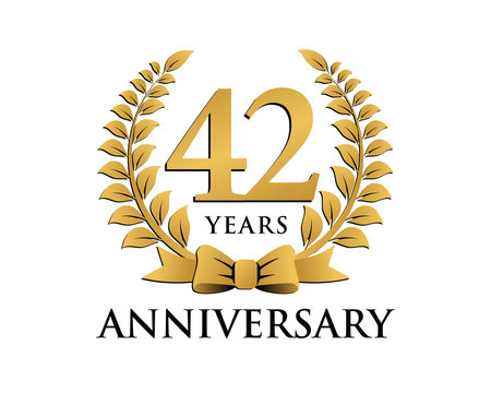 anniversary logo ribbon wreath 42