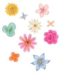 カラフルな水彩画の花フレーム Watercolor of colorful flowers
