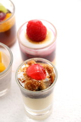 Sweet desserts in the glass