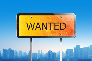 wanted traffic sign