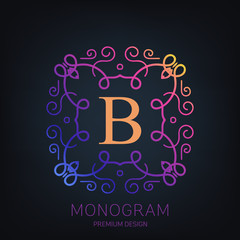Abstract creative concept vector logo of retro monogram isolated