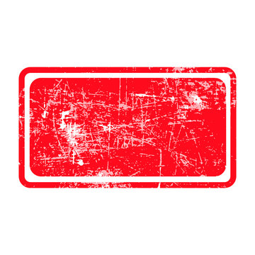 red rectangular grunge stamp with blank isolated on white backgr