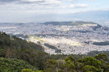 View of the Quito, Ecuador, from the mountain hill