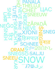 Snow multilanguage wordcloud background concept