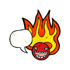 flaming emoticon face cartoon (raster version)