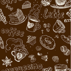 seamless pattern with coffee cakes pies latte and cappuccino on