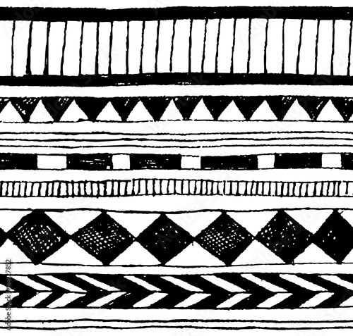 Seamless Vector Hand Draw Tribal Ink Pattern Stock Image