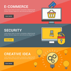 Flat Design Concept. Set of Vector Illustrations for Web Banners. E-Commerce, Security, Creative Idea