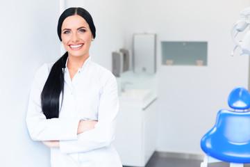 Dentist Portrait. Young Woman Doctor at Dental Clinic. Teeth Car