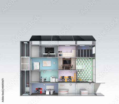 smart office concept energy support by solar panel photo libre de droits sur la banque d. Black Bedroom Furniture Sets. Home Design Ideas