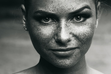 beautiful girl portrait freckles black and white