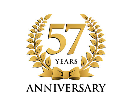 anniversary logo ribbon wreath 57