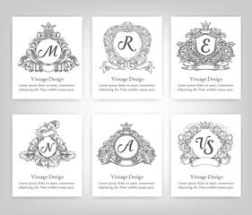 set of vintage emblems, monograms