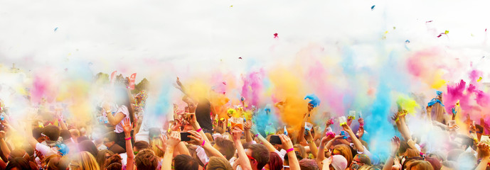 Fun on the holi festival - panoramic photo