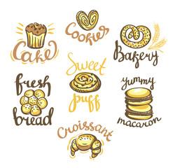 Set of bakery label on white background. Bakery logos.