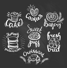 Set of bakery logos on the chalkboard. Bakery labels.