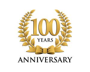 anniversary logo ribbon wreath 100