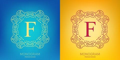 Abstract creative concept vector logo of retro monogram isolated