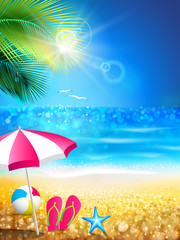 Fototapete - Summer holidays - relax to tropical beach
