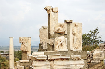 The site and ruins of Ephesus. The Library of Celsus.