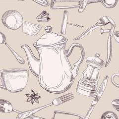 Beige seamless pattern of kitchen utensils vintage
