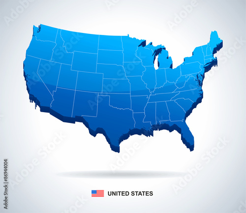 USA map - three-dimensional vector illustration.\