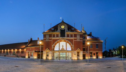 Railway station on the night in Opole
