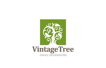 Vintage Tree Logo design vector template...Magic Plant with big